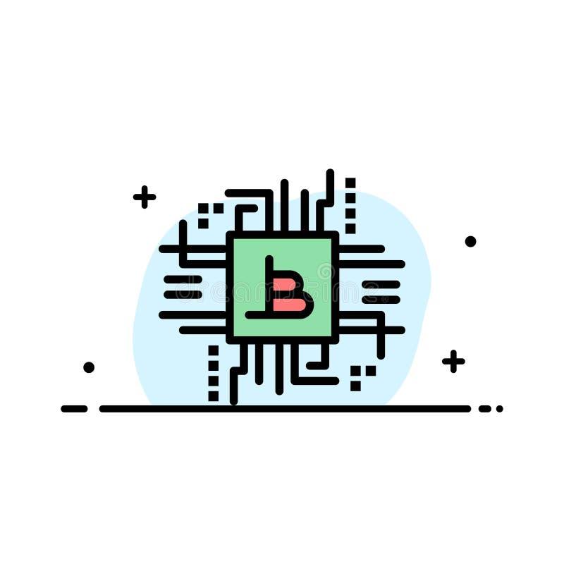 Pieniądze przemysł, Bitcoin, komputer, finanse, Biznesowa linia Wypełniający mieszkanie ikony sztandaru Wektorowy szablon ilustracji