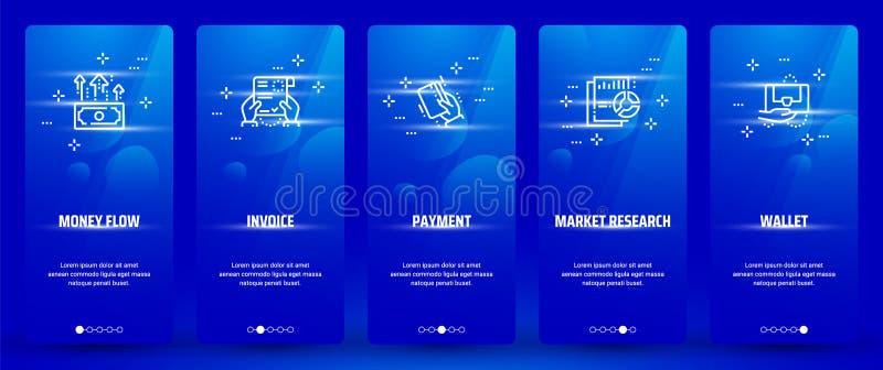 Pieniądze przepływ, faktura, zapłata, badanie rynku, portfla Vertical karty z silnymi metaforami ilustracji