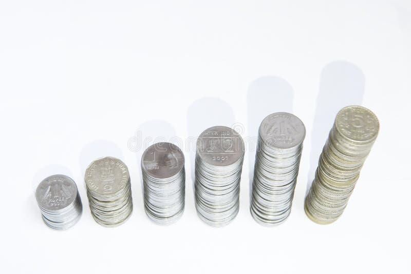 Pieniądze przyrosta monety obrazy stock