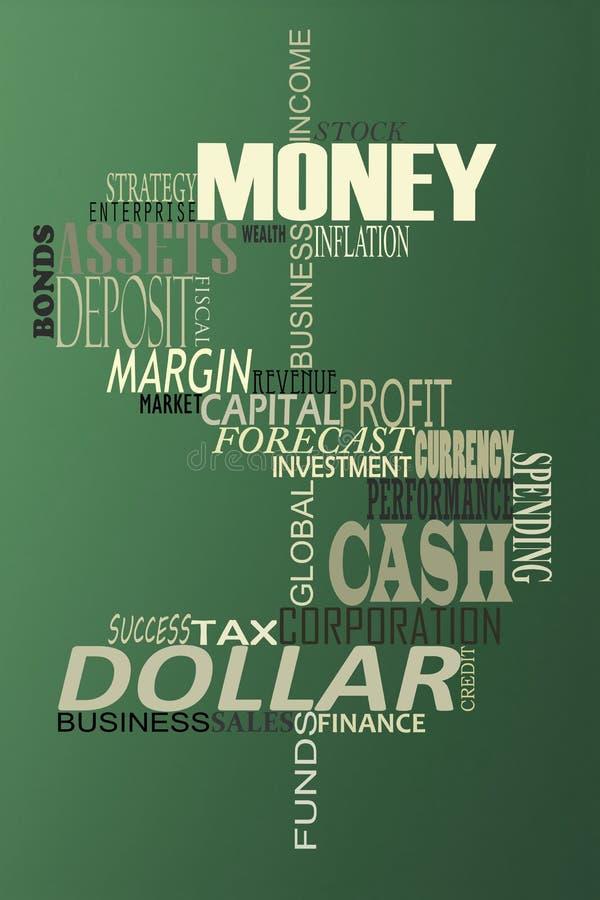 Pieniądze słowa chmura. royalty ilustracja