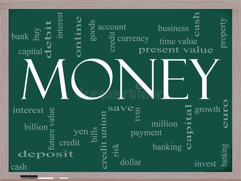 Pieniądze słowa chmury pojęcie na chalkboard ilustracja wektor