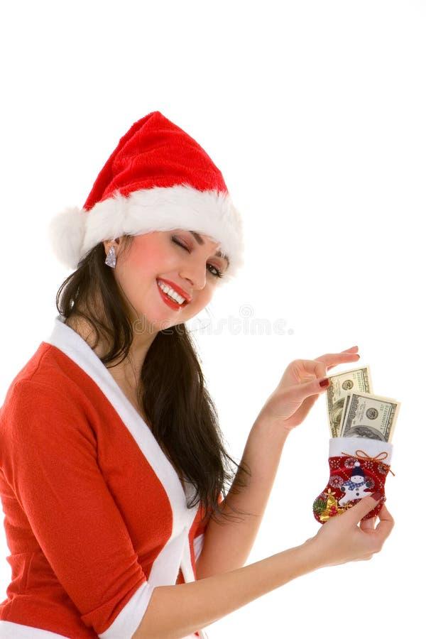 pieniądze Santa kobieta obraz royalty free