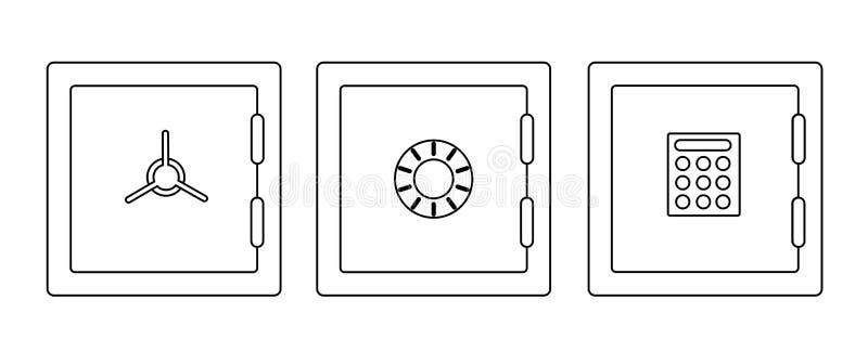 Pieniądze skrytki ustalona ikona ilustracji