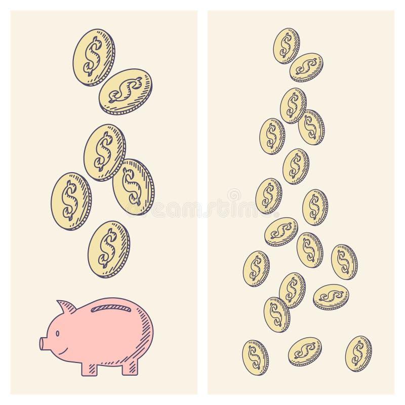 Pieniądze spadać i moneybox prosiątko zdjęcie stock