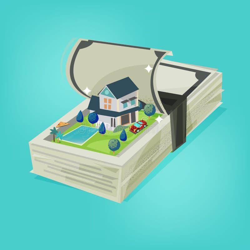 Pieniądze sterta otwarta i przedstawienie duży dom z basenem, super samochód inside ilustracja wektor