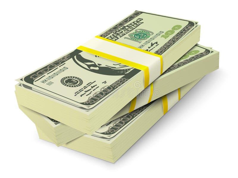 Pieniądze sterty banknotów pojęcie royalty ilustracja