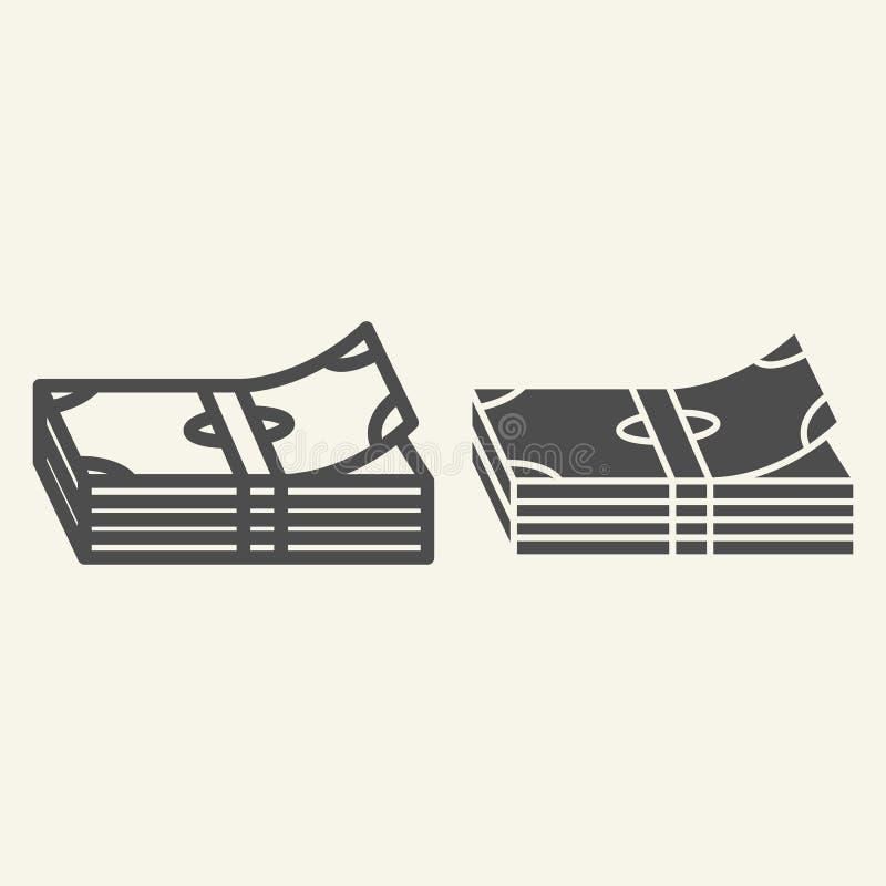 Pieniądze sterty linia i glif ikona Banknot wektorowa ilustracja odizolowywająca na bielu Plik notatka konturu stylu projekt royalty ilustracja