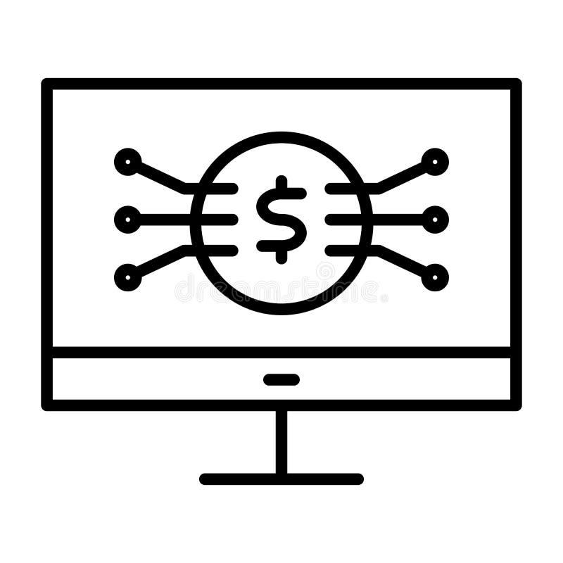 Pieniądze symbol na ekran komputerowy linii ikonie Wektorowy Prosty Minimalny 96x96 piktogram ilustracji