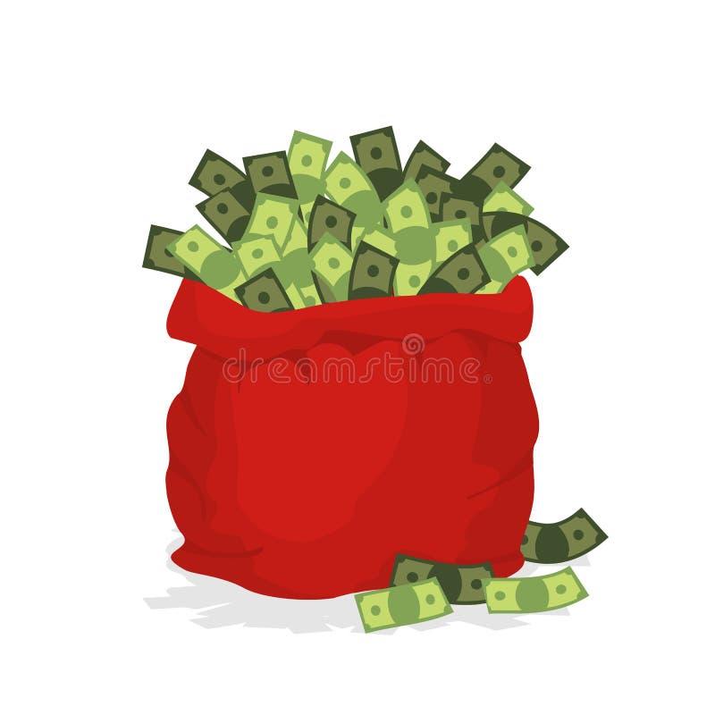 Pieniądze torba Święty Mikołaj Duża Czerwona świąteczna torba wypełniająca z dolarami royalty ilustracja