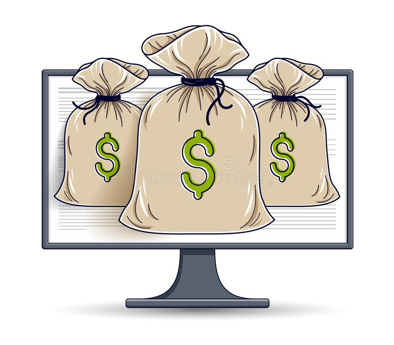 Pieniądze torba nad komputerowym monitorem online, księgowości pojęciem lub, interneta elektroniczny pieniądze, oszczędzania, wek royalty ilustracja
