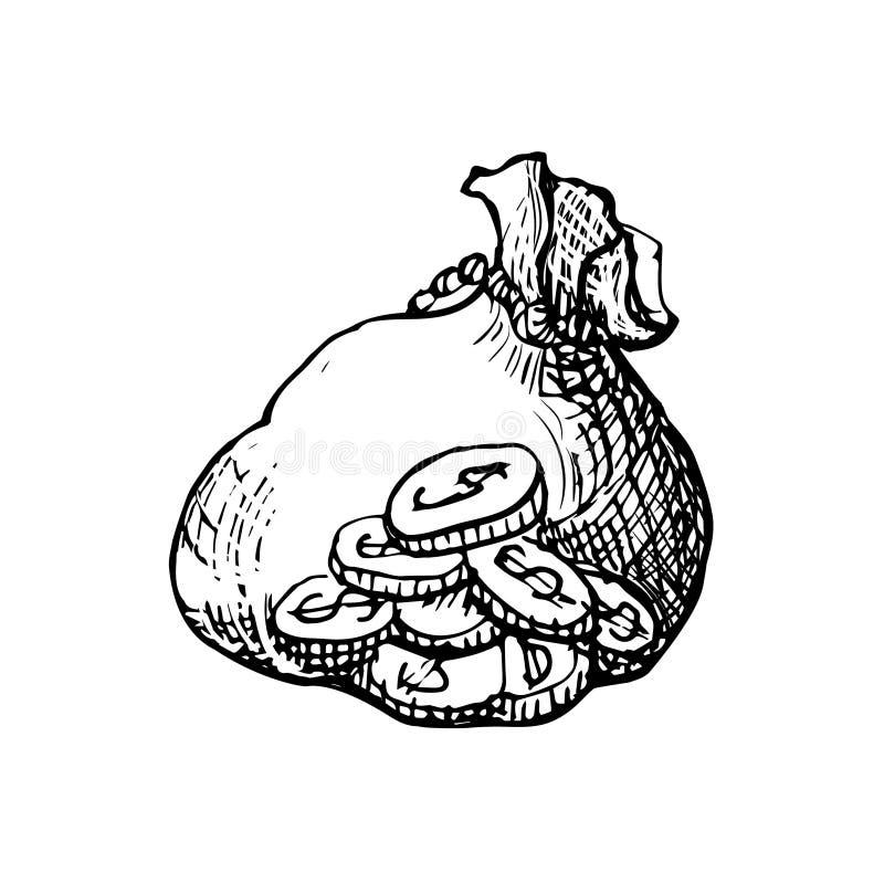 Pieniądze torba symbol bezpieczny magazyn i bogactwo - wręcza patroszoną nakreślenie ikonę - ilustracja wektor
