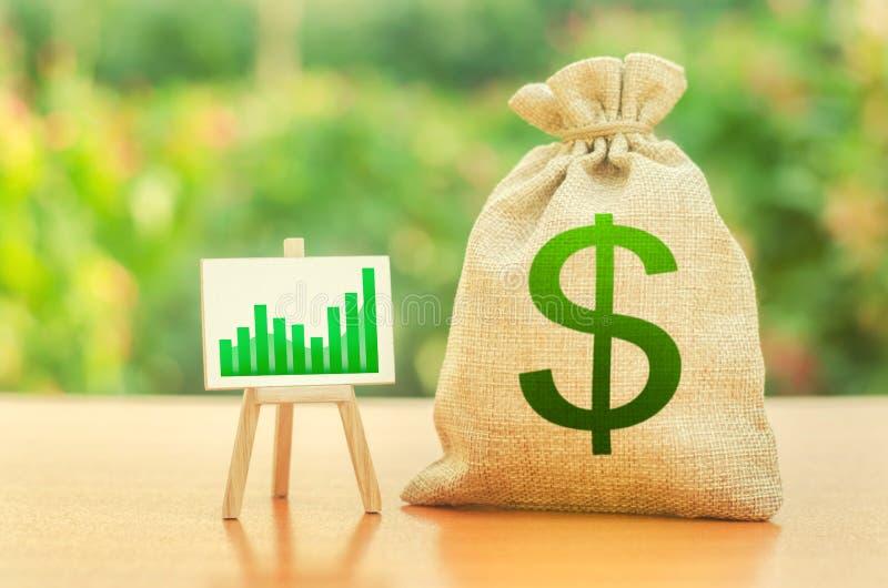 Pieniądze torba z dolarowym symbolem i stojak z zielonym wzrostowym trendem sporządzamy mapę Wzrosta bogactwo i zyski przyrost pł fotografia stock