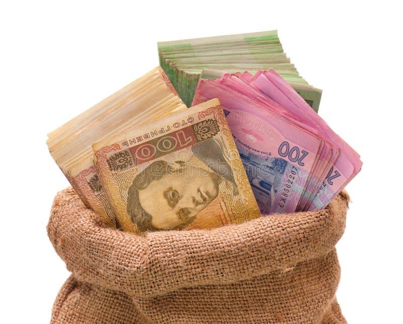 Pieniądze torba z hryvna obraz royalty free