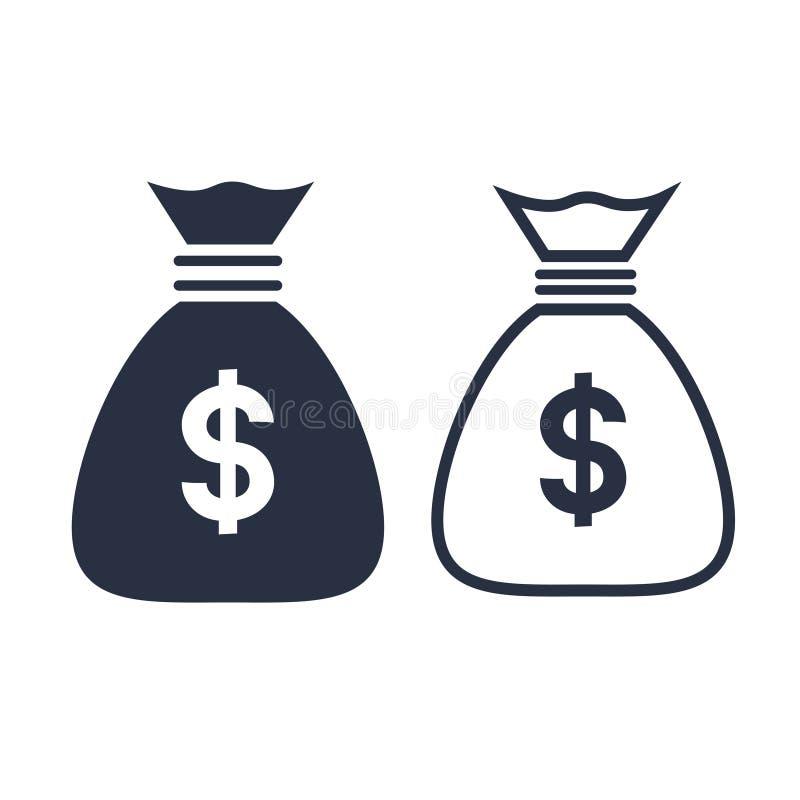 Pieniądze torba z waluta symbolem, inwestorska ikona i bankowość, podpisujemy ilustracja wektor