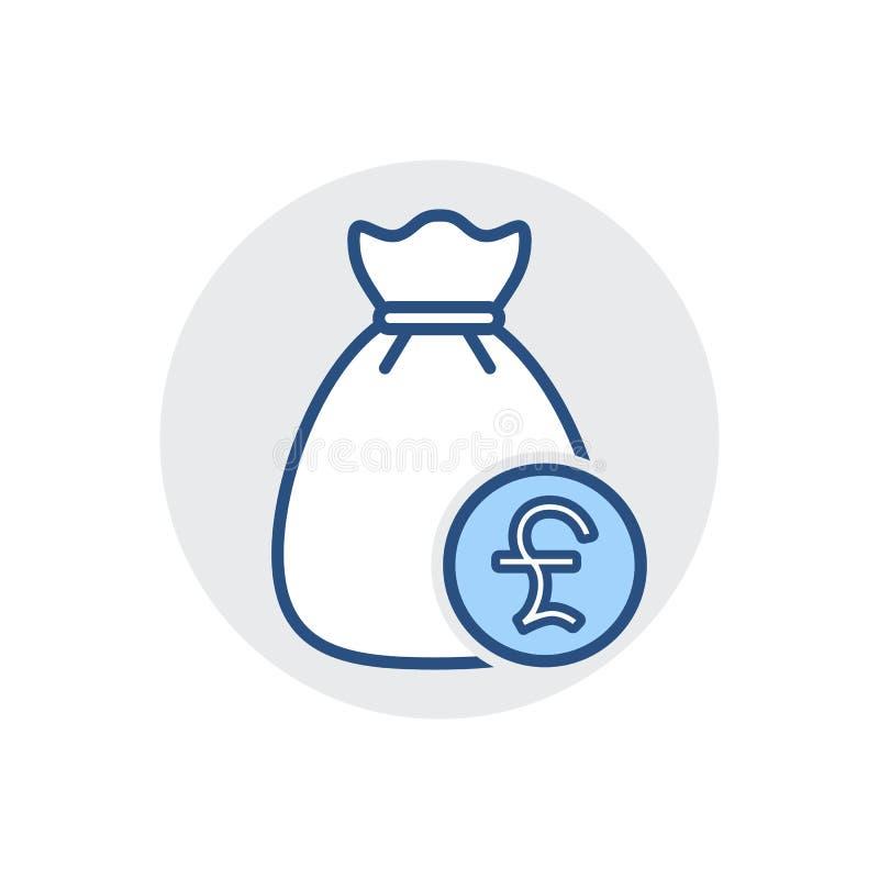 Pieniądze torby ikona Deponuje pieniądze gotówkę, finansuje, funduje, opodatkowywa, ikonę royalty ilustracja
