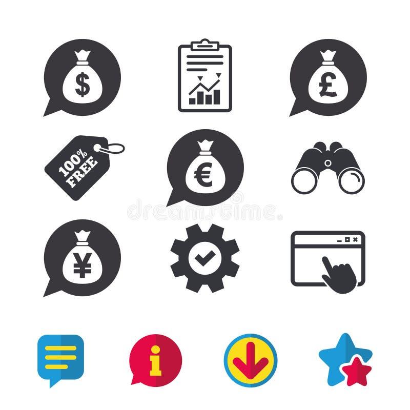 Pieniądze torby ikony Dolar, euro, funt i jen, ilustracji