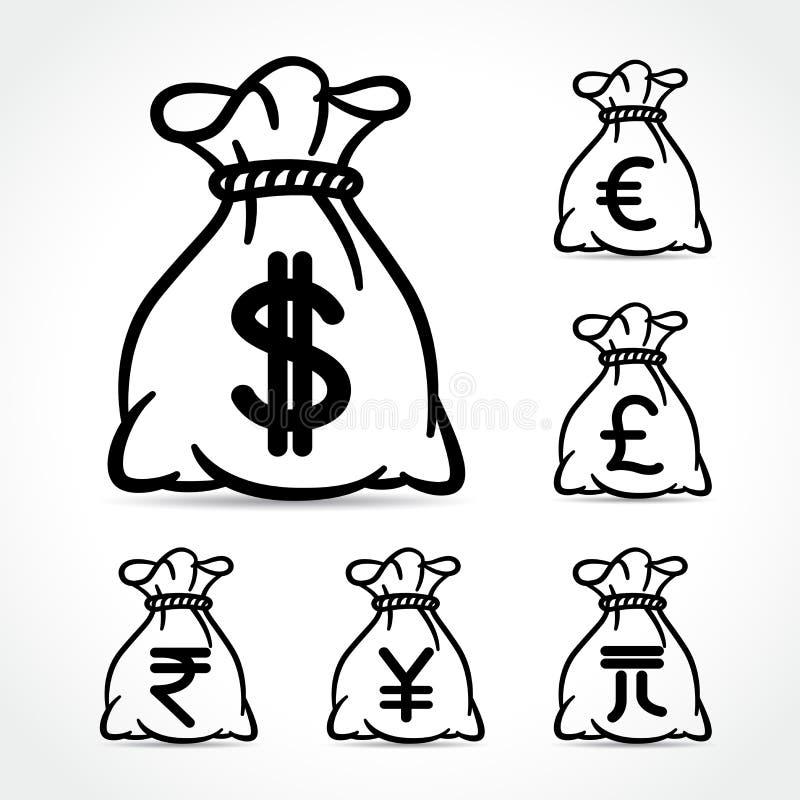 Pieniądze torby ikony na białym tle ilustracji