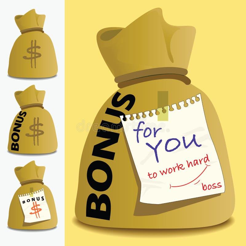 Pieniądze torby premia dla osoby pracować mocno ilustracji