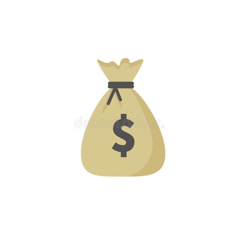 Pieniądze torby wektorowa ikona, moneybag i dolarowy znak odizolowywający na białym tle, Wektorowa ilustracja royalty ilustracja