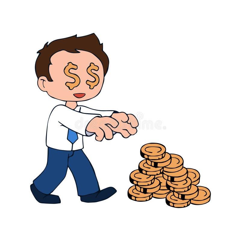 Pieniądze uzależniony charakter royalty ilustracja