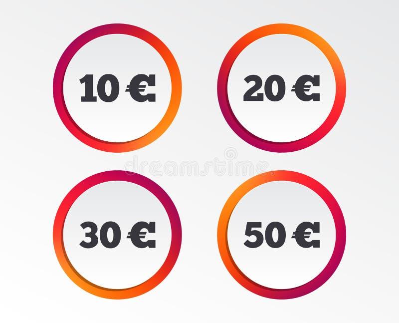Pieniądze w Euro ikonach Dziesięć, dwadzieścia, pięćdziesiąt EUR royalty ilustracja