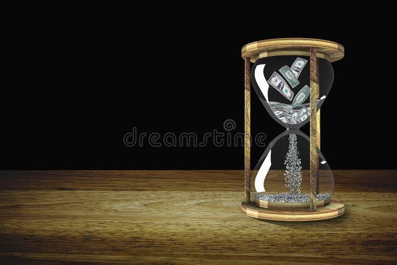 Pieniądze w hourglass Czas jest cennym pojęciem Trzy wymiar obrazy royalty free