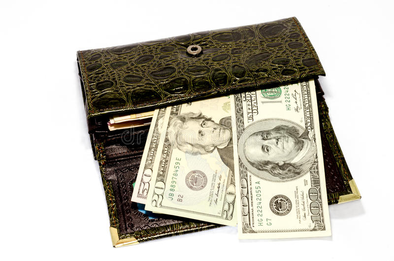 Pieniądze w kiesie obrazy stock