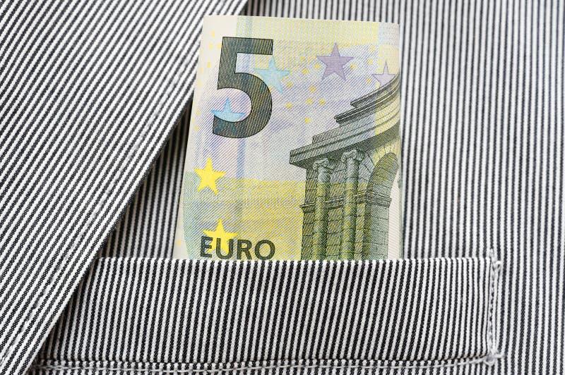 Pieniądze w kieszeni kostium zdjęcia stock