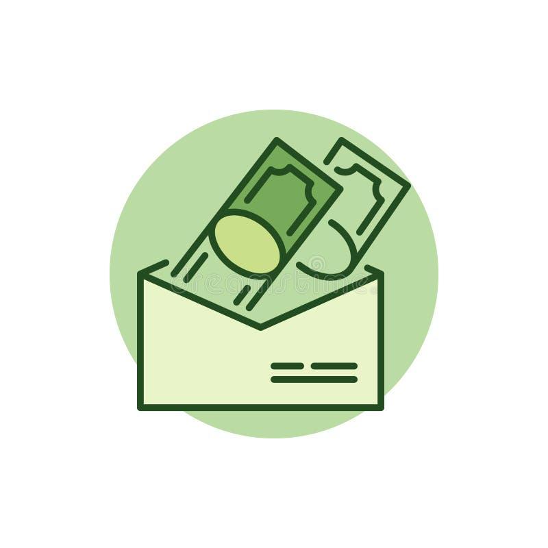 Pieniądze w kopertowej kolorowej ikonie royalty ilustracja