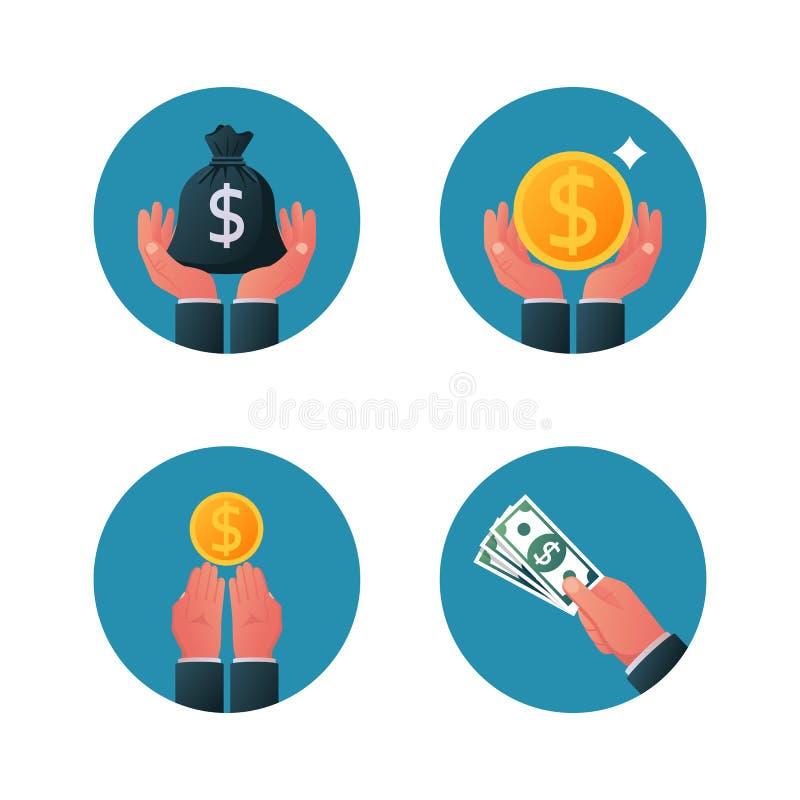 Pieniądze w mikrotelefonie Pokazywać, wynagrodzenie, dawać monecie i banknotowi ilustracji