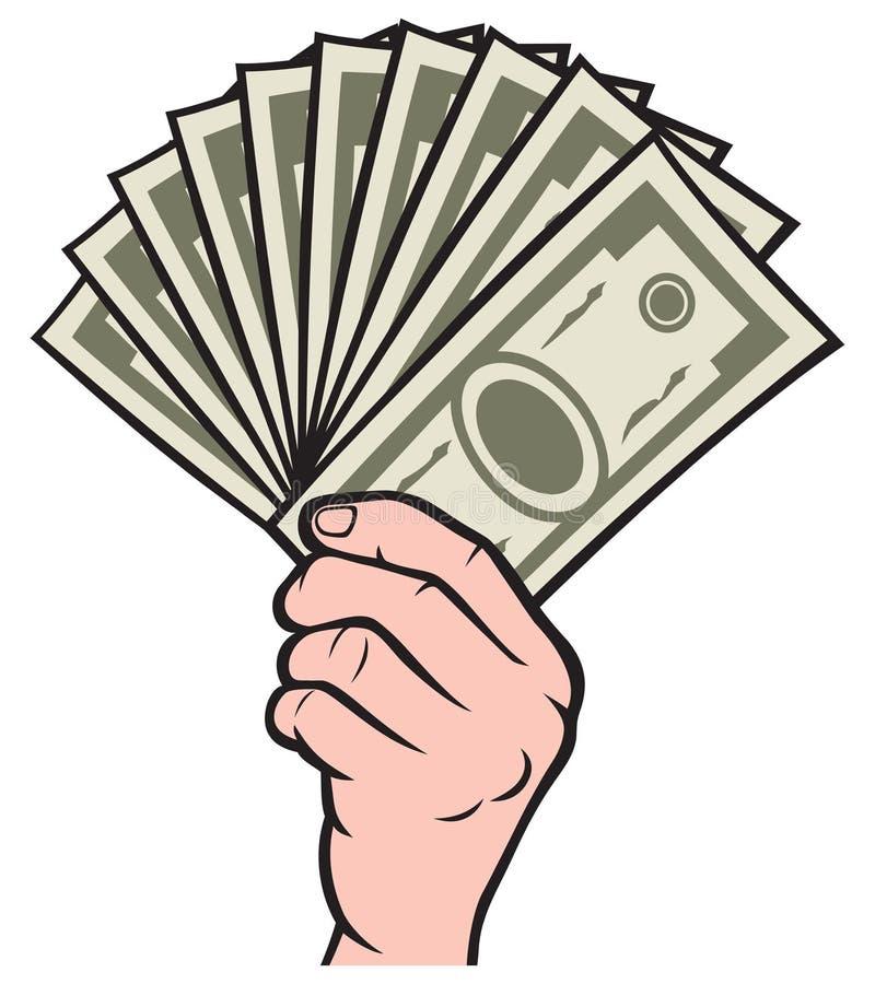 Pieniądze w ręce ilustracja wektor