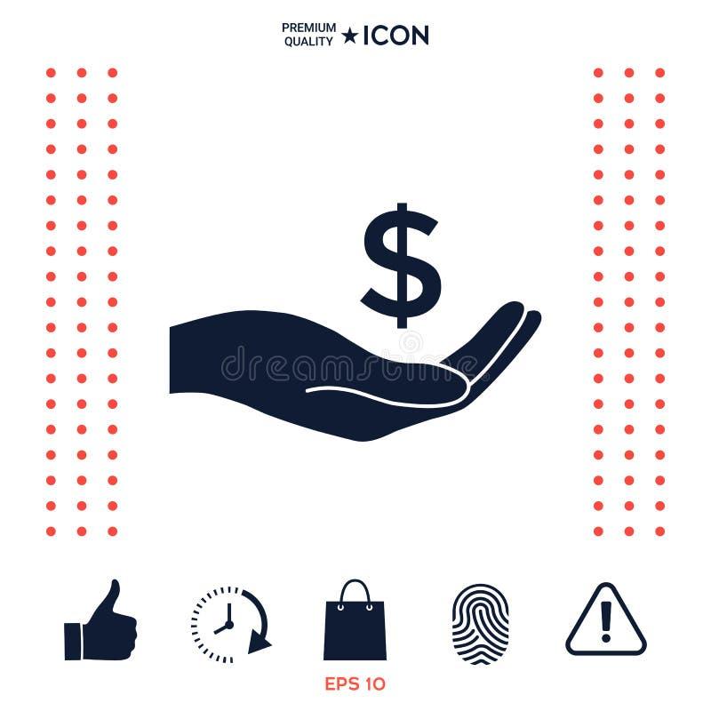 Pieniądze w ręce, dolarowa symbol ikona ilustracja wektor