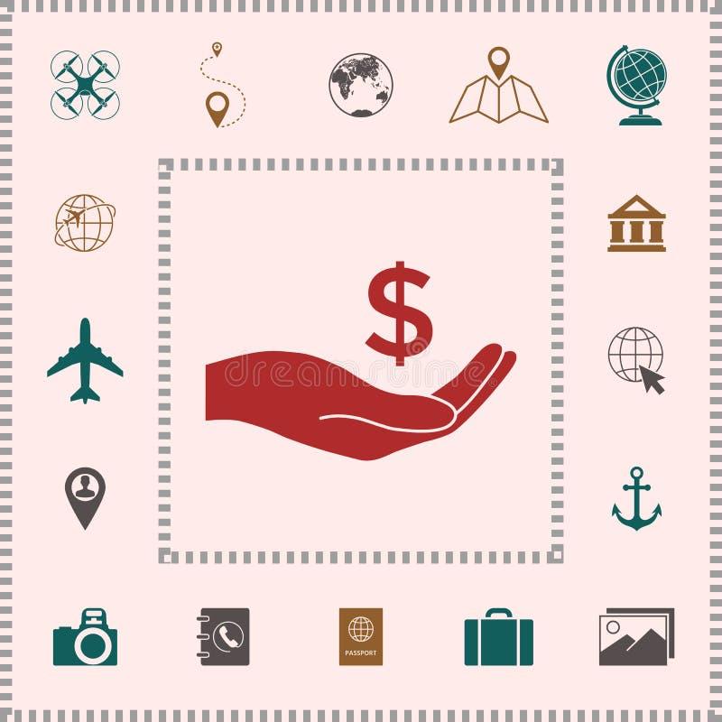 Pieniądze w ręce, dolarowa symbol ikona elementy projektów galerii ikony widzą odwiedzić twój więcej moich piktogramy proszę ilustracji
