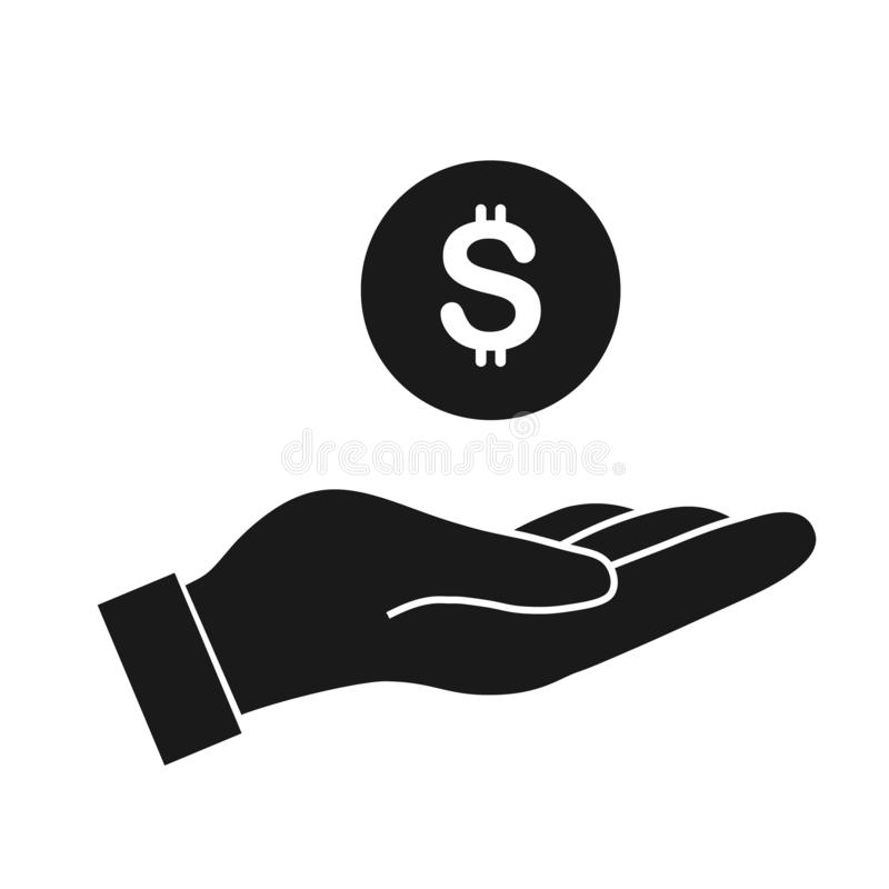 pieniądze w ręka wektoru ikonie royalty ilustracja