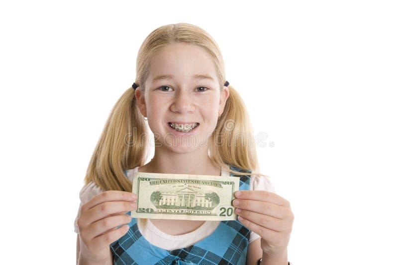 Pieniądze w ręki Szczęśliwy Nastoletnim fotografia stock