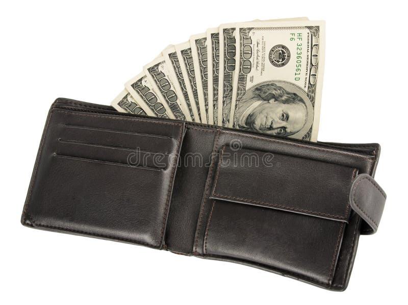 Pieniądze w rzemiennej kiesie odizolowywającej na bielu zdjęcie royalty free
