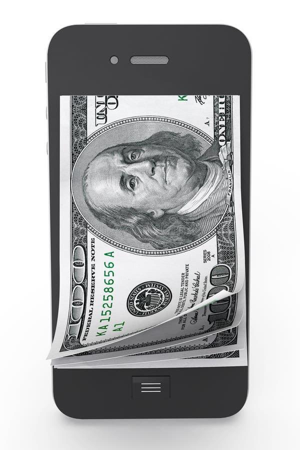 Pieniądze w telefon komórkowy ilustracja wektor