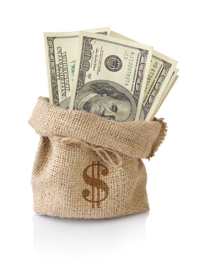 Pieniądze w worku zdjęcia stock