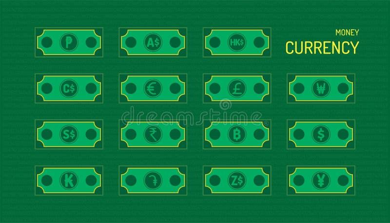 Pieniądze waluta piękny kolor zieleni tło ilustracja eps10 royalty ilustracja