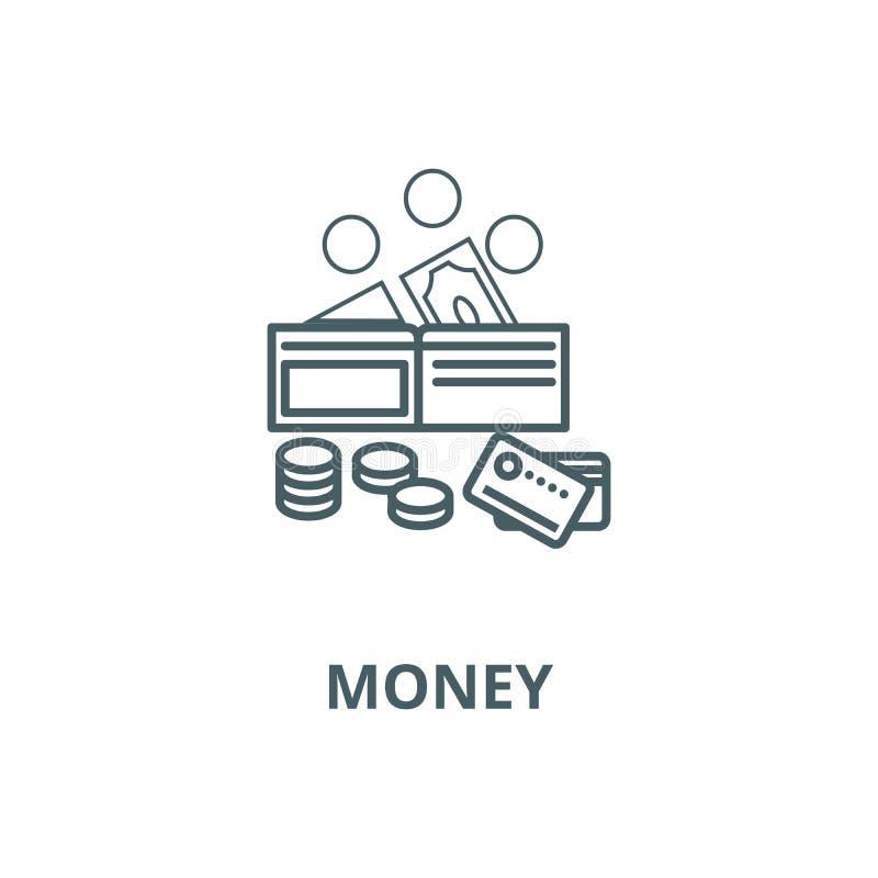 Pieniądze wektoru linii ikona, liniowy pojęcie, konturu znak, symbol royalty ilustracja
