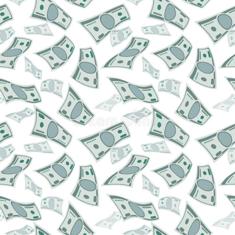 Pieniądze wiatru strumień, papieru tornada finanse gotówkowy pojęcie bezszwowi latający dolary tło ilustracja wektor
