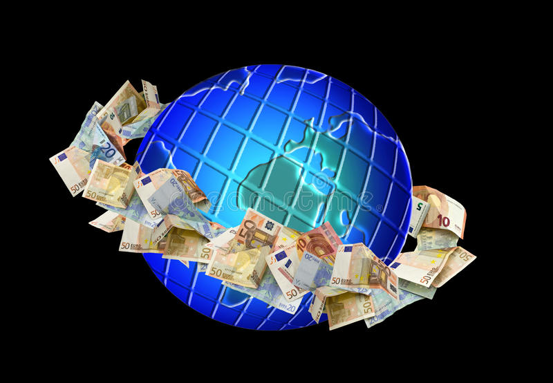 Pieniądze wokoło kuli ziemskiej zdjęcia stock