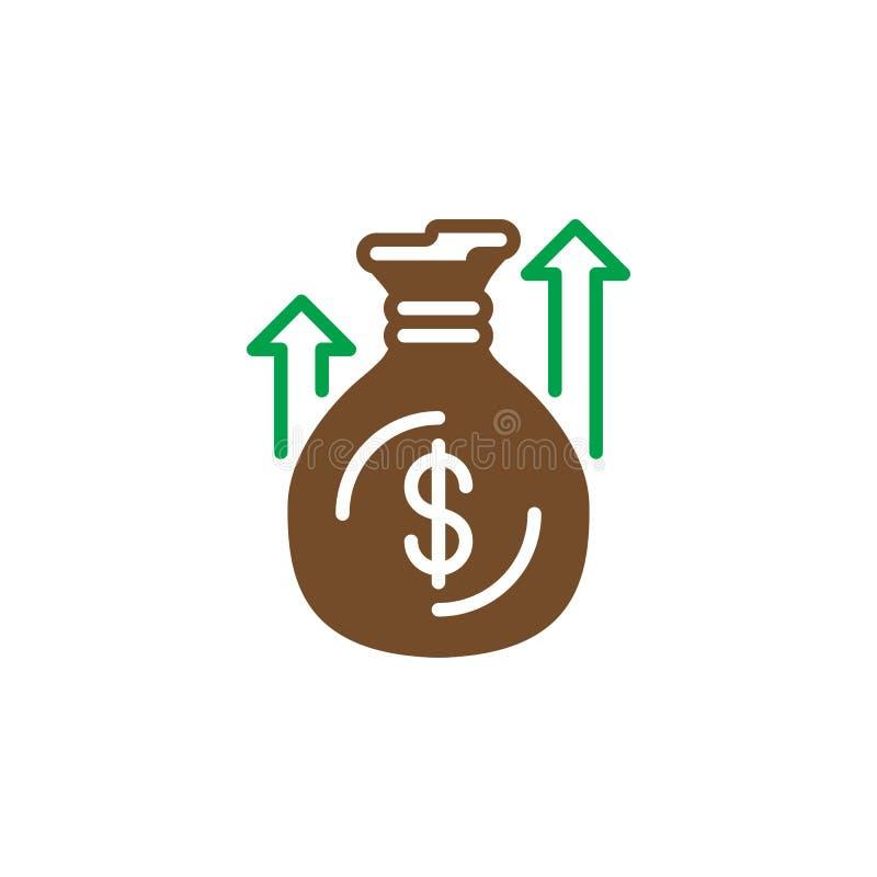 Pieniądze worka lub torby ikony wektor, wypełniający mieszkanie znak, stały kolorowy piktogram odizolowywający na bielu royalty ilustracja