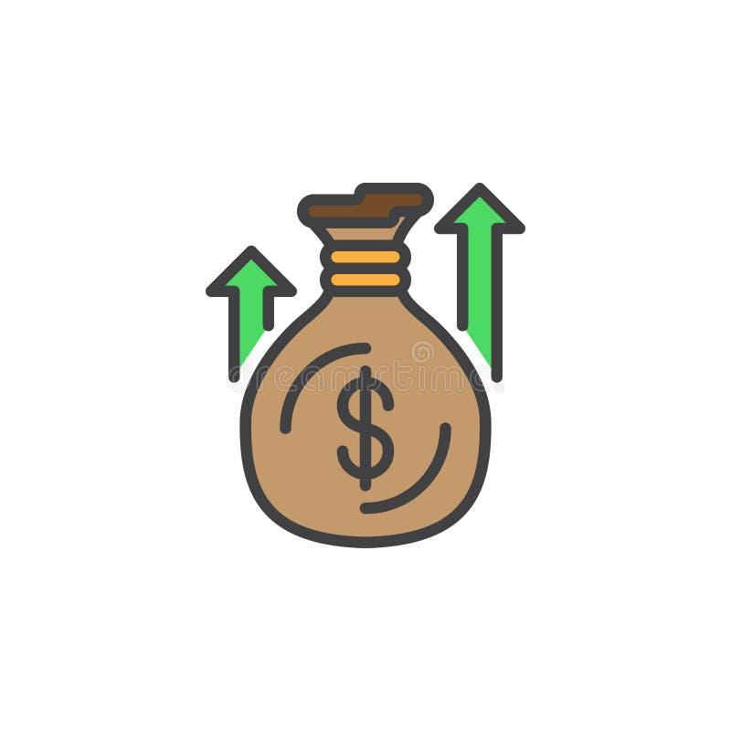 Pieniądze worka lub torby kreskowa ikona, wypełniający konturu wektoru znak, liniowy kolorowy piktogram odizolowywający na bielu royalty ilustracja