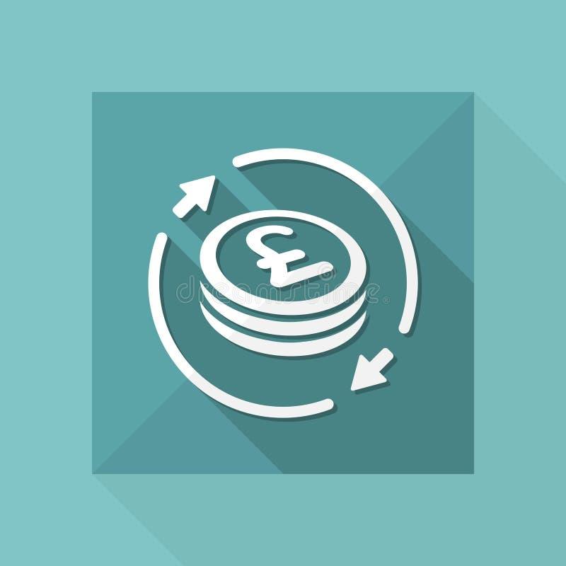 Pieniądze wymiany ikona - Sterling ilustracja wektor