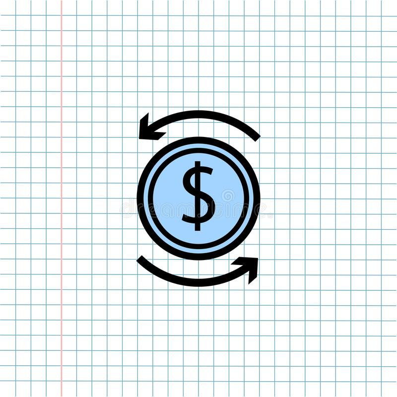 Pieni?dze wymiany symbolu ikona na papier notatki tle, Medialna ikona dla technologii komunikacji i biznesu handlu elektroniczneg royalty ilustracja