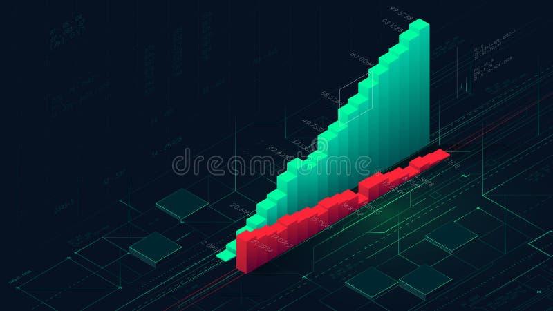Pieniężna analiza powikłani baza danych, infographic kolumny biznesowe analityka wskazuje postęp royalty ilustracja