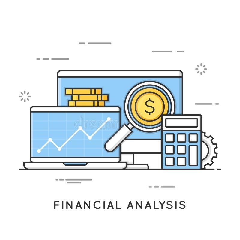 Pieniężna analiza, zarządzanie projektem, statystyki, biznesowy str ilustracji