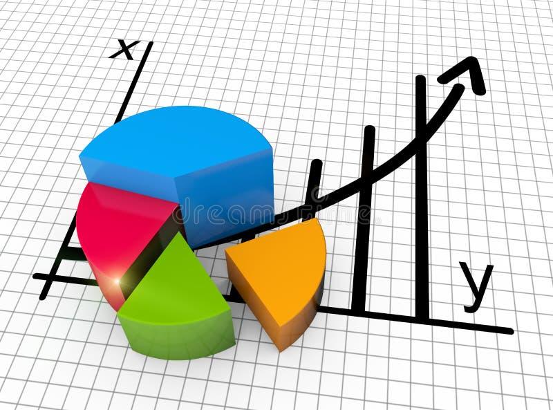 Pieniężna biznesowa mapa i wykresy ilustracji