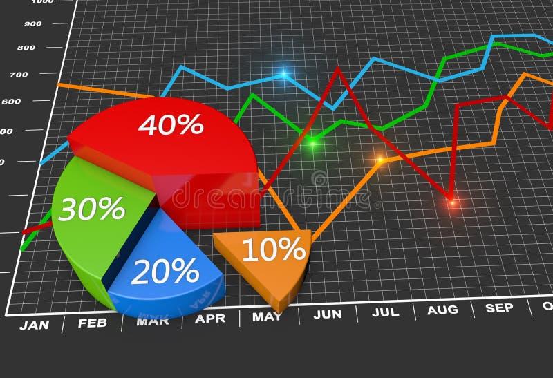 Pieniężna biznesowa mapa i wykresy fotografia royalty free
